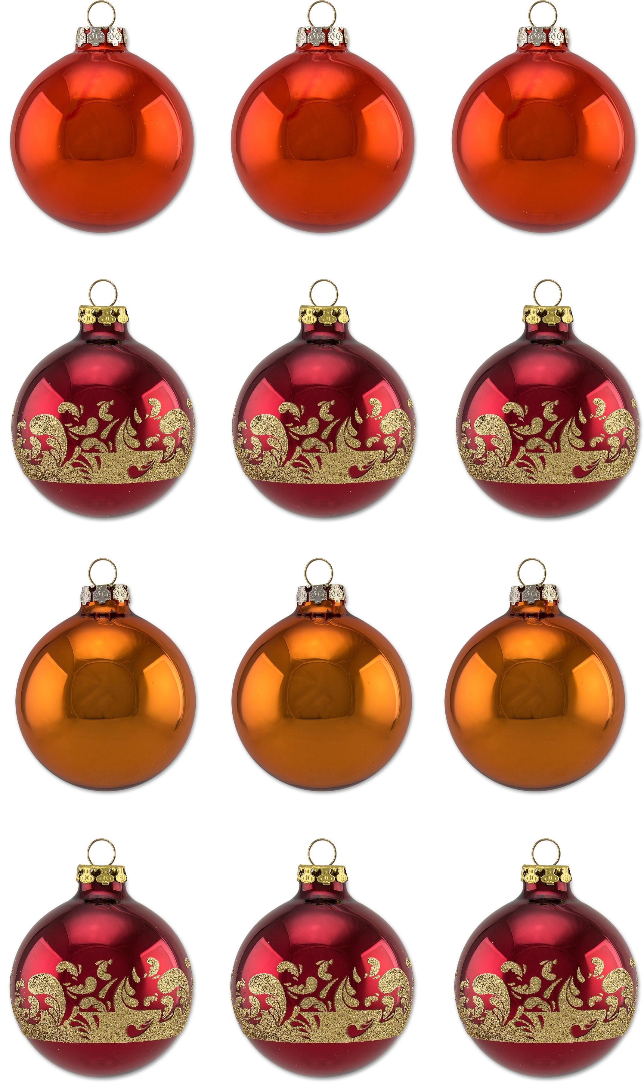Thüringer Glasdesign kerstbal Sienna Ø 6 cm, met kerstballen met motief, made in Germany (set, 12 stuks) voordelig en veilig online kopen