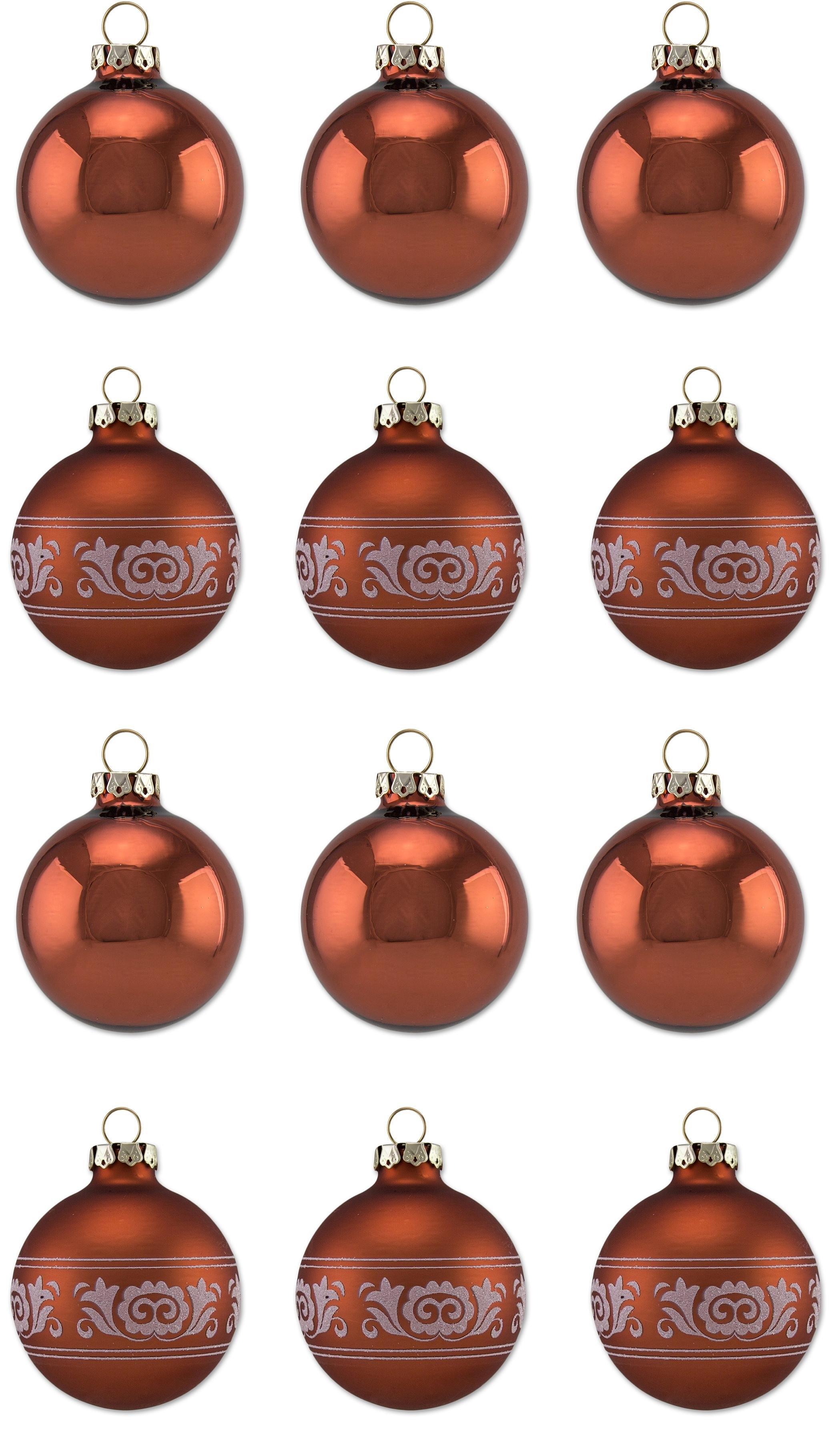Thüringer Glasdesign kerstbal Koperkleur Glans Made in Germany (set, 12 stuks) veilig op otto.nl kopen