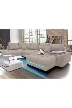 nova via zithoek naar keuze met koudschuim (140 kg belasting-zitting), met rgb-ledverlichting, bluetooth-geluidssysteem en slaapfunctie grijs