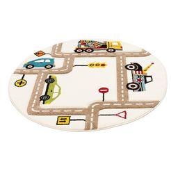 vloerkleed voor de kinderkamer, »straten«, luettenhuett, rond, hoogte 13 mm, machinaal geweven beige