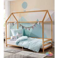 luettenhuett huisbed ellen met rand van massief grenenhout, in twee verschillende kleurvarianten te bestellen, breedte 208 cm beige
