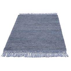 vloerkleed, »amba«, home affaire, rechthoekig, hoogte 6 mm, met de hand geweven blauw