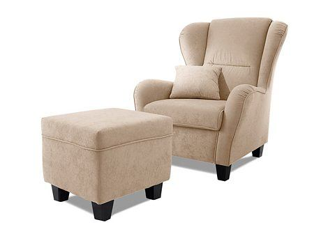 HOME AFFAIRE Fauteuil en hocker Oliver in uni