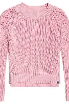 superdry trui met ronde hals »harper pointelle rib knit« rosa