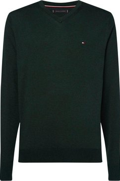 tommy hilfiger trui met v-hals »organic cotton silk v neck« groen