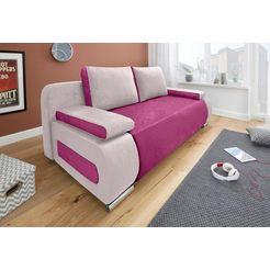 collection ab bedbank met binnenvering, met slaapfunctie en bedkist, met losse arm- en rugkussens, vrij plaatsbaar roze