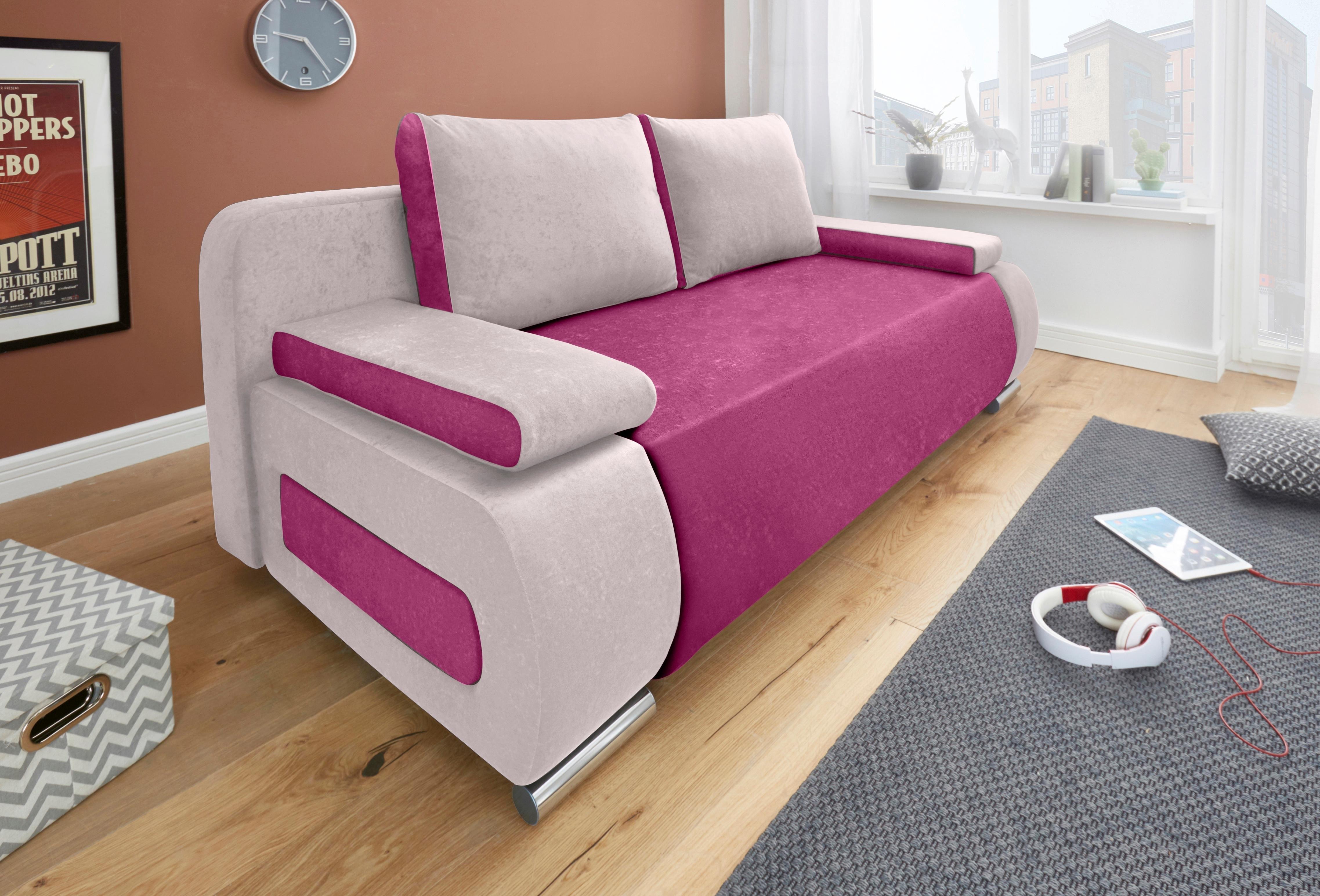 COLLECTION AB Bedbank met binnenvering, met slaapfunctie en bedkist, met losse arm- en rugkussens, vrij plaatsbaar bestellen: 30 dagen bedenktijd