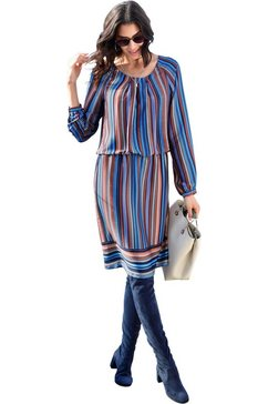 classic inspirationen jurk in streepdessin bruin