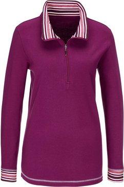 classic basics sweatshirt met streepdessin bij de kraag rood