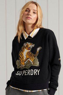 superdry sweater military narrative sweater met tijgerprint zwart