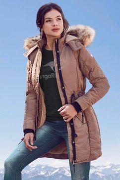 alpenblitz parka wintercharme met behaaglijk gevoerde capuchon en afneembaar imitatiebont aan de rand bruin