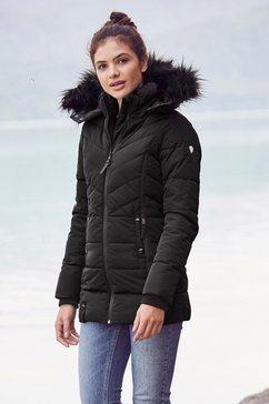 alpenblitz winterjack pistenglueck hoogwaardige gewatteerde jas met volumineuze capuchon van imitatiebont zwart