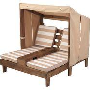 kidkraft klapstoel voor kinderen »dubbel zonnebed met bekerhouders, wit-beige « bruin