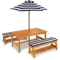 kidkraft kinderzithoek tuintafelset lichtbruin met zitkussens en parasol, marineblauw-wit gestreept bruin