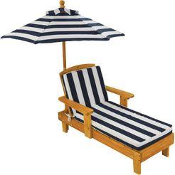 kidkraft klapstoel voor kinderen ligstoel met parasol, wit-blauw bruin