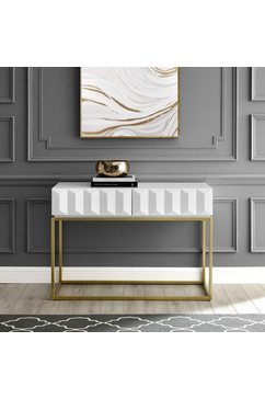 leonique sidetable alais in 3d-look, met twee laden en goudkleurig frame wit