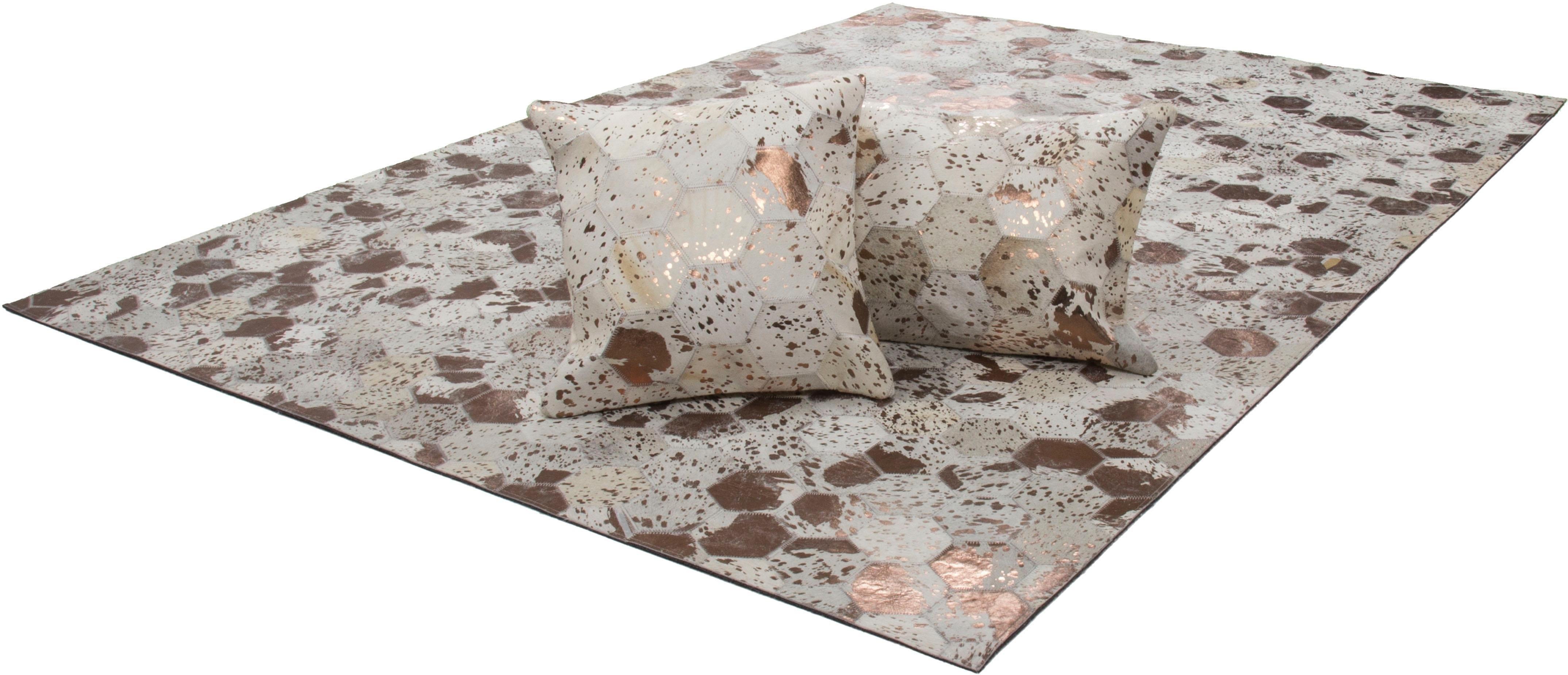 calo-deluxe Leren vloerkleed, »Scarllet 210«, rechthoekig, hoogte 8 mm, natuurproduct - verschillende betaalmethodes
