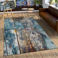 paco home vloerkleed natura 850 korte pool met artistiek houten platen design, woonkamer multicolor