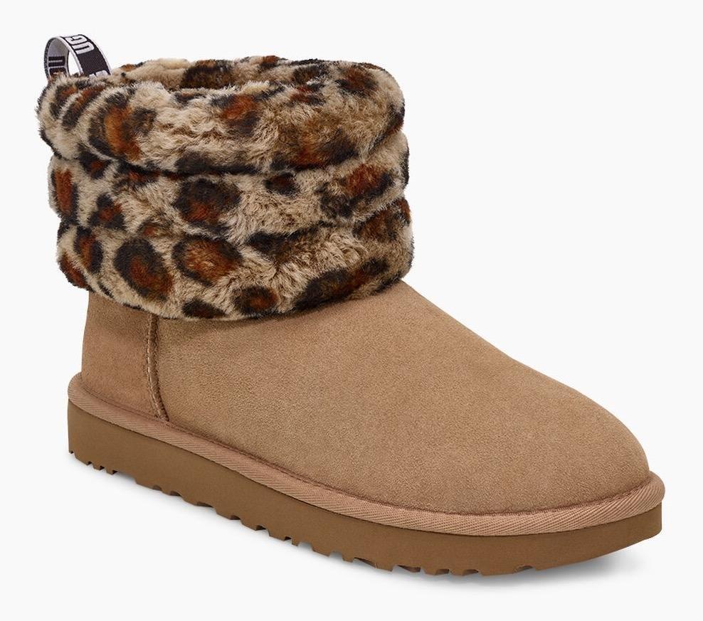 Ugg laarzen zonder sluiting »Fluff Mini Quilted Leopard« - gratis ruilen op otto.nl