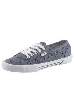 pepe jeans sneakers aberlady angy-20 met fijn bloemborduursel blauw