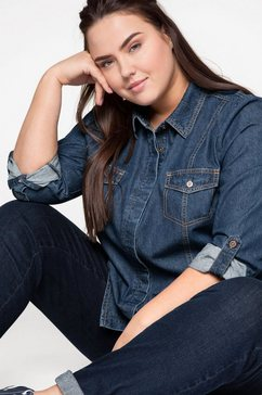 sheego jeansblouse blauw
