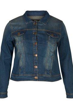 zizzi jeansjack met contrastkleurige naden en stiksels blauw
