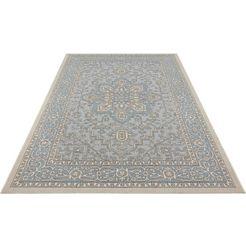 bougari vloerkleed anjara geschikt voor binnen en buiten, platweefsel, woonkamer blauw