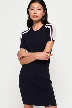 superdry tricotjurk »sydney rib bodycon dress« blauw