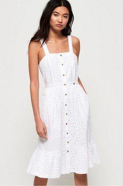 superdry kanten jurk »camille button schiffli dress« wit