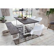 home affaire eettafel »maryland« van massief acaciahout en met een wit metalen onderstel beige