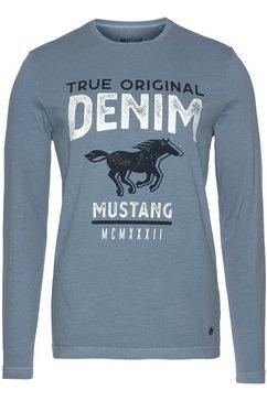 mustang shirt met lange mouwen blauw