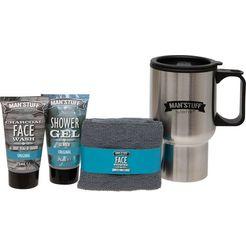 man'stuff lichaamsverzorgingsset 'travel mug' zilver