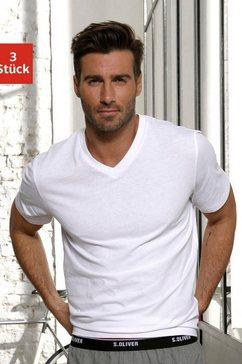 s.oliver bodywear shirt met v-hals (set, set van 3) wit