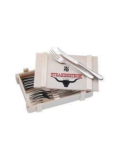 Steakbestek in houten kist, 12-delig