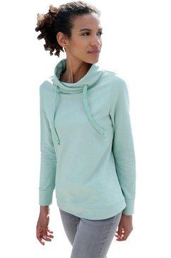 casual looks sweatshirt met asymmetrische kraag groen
