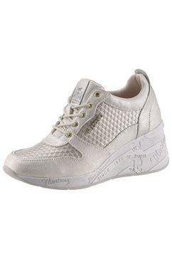 mustang shoes sneakers met sleehak beige
