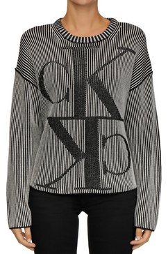 calvin klein trui met ronde hals »mirrored monogram ck cn« zwart