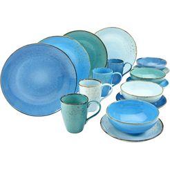 creatable combi-servies 'nature collection aqua' (16-delig) blauw