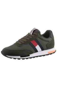 tommy jeans sneakers retro tjm mix pop runner in de materiaalmix groen