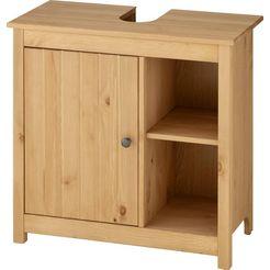 home affaire wastafelonderkast westa breedte 62 cm, badkamerkast van massief hout, grenenhout, metalen grepen, 1 deur, 2 open vakken beige