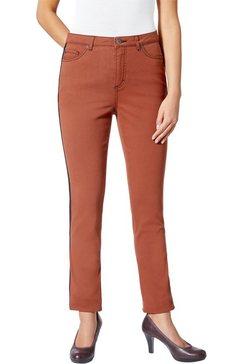 jeans met afkledende contraststrepen opzij goud