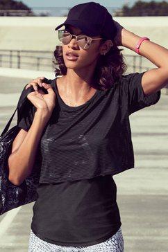lascana active 2-in-1-shirt »digital mauve« zwart