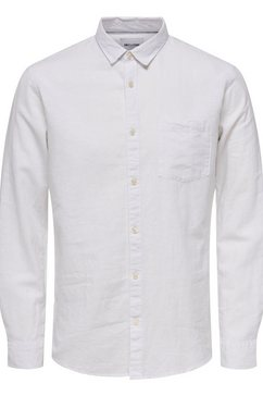 only  sons overhemd met lange mouwen »caiden ls solid linen shirt« wit