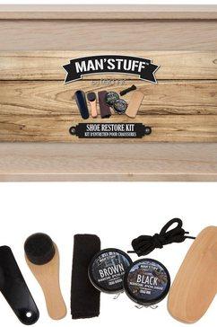 man'stuff, schoenenverzorgingsset, «shoe kit», 7-delig bruin