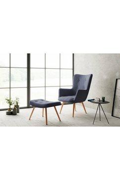 homexperts fauteuil aron fauteuil met capitonnering, naar keuze met hocker (1 stuk) grijs