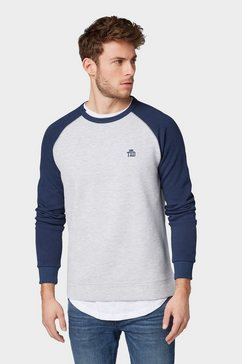 tom tailor denim sweatshirt met logoborduursel grijs