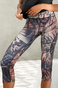 lascana caprilegging »tropical« braun