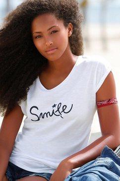 beachtime t-shirt met maritieme ankerprint wit