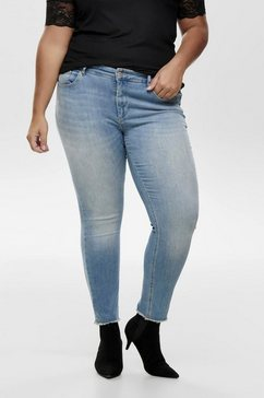 only carmakoma slim fit jeans »augusta« blauw