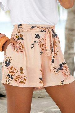 s.oliver red label beachwear strandshort met bloemenprint beige